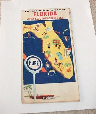 Pure Oil Florida and Southeastern US Map