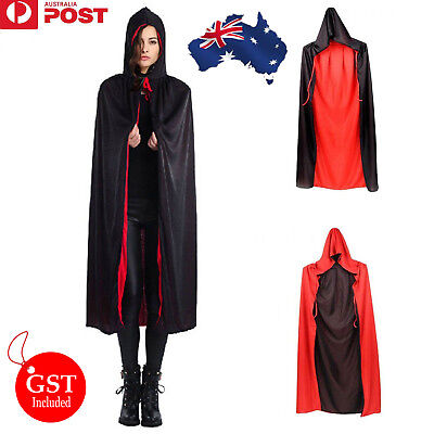 New 1X Halloween Unisex Vampire Witch Cape Hooded Black Red Two Side Costume