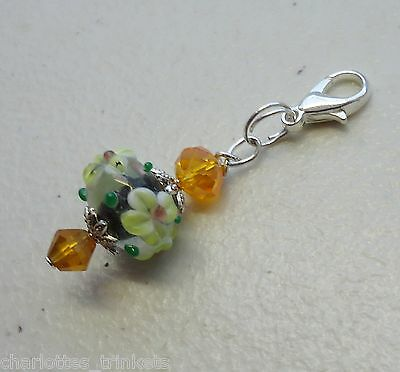 Lampwork Bead w Orange Crystal - Just for You Clip on Charm or Zipper Pull