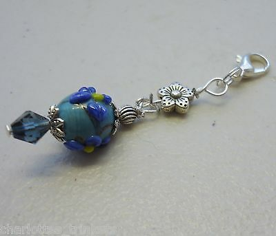 Lampwork Bead w Blue Crystal - Just for You Clip on Charm or Zipper Pull