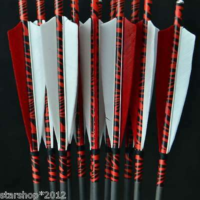 6pcs 31'' Carbon Hunting Arrow Changeable Arrowheads Spine 500 Turkey Feather