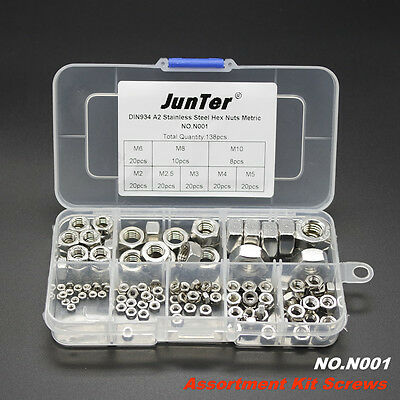 138pcs DIN934 M2-M10 A2 Stainless Steel Hex Nuts Metric Assortment Kit NO.N001