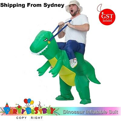 Inflatable Green Dinosaur Rider Costume Suit Fan Costume Dress Party Funny Adult