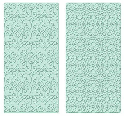 Kitchen Craft Sweetly Does It Scroll and Geometric Easy Press Embossers, Turquoi