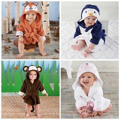 New Infant Baby Girl Boy Hooded Bath Towel Wrap Bathrobe Bathing Shower Blanket