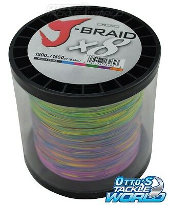 Daiwa J Braid x8 Multi-coloured 1500m Spool (Various lb.) BRAND NEW at Otto's