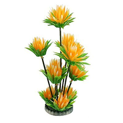 Sourcingmap Fish Tank Flower Leaves Plant Decor, 9.6-Inch, White Orange Green