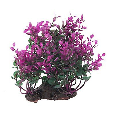 Sourcingmap Plastic Aquarium Aritificial Aquascaping Plant Grass, Green Purple
