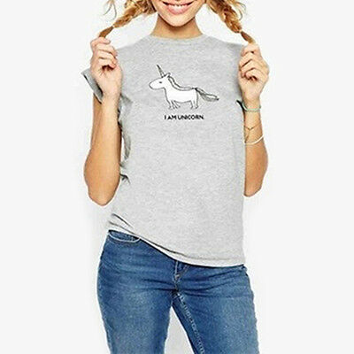 Women's Casual Unicorn Printed T-shirt Round Neck Short Sleeve Shirt Top Deluxe