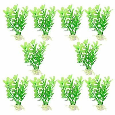Sourcingmap Plastic Aquarium Manmade Water Plants Decoration, Green, 10-Piece