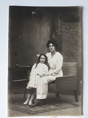 Vintage Postcard Photograph - Real Person - Unknown Lady & Child Skipping Rope