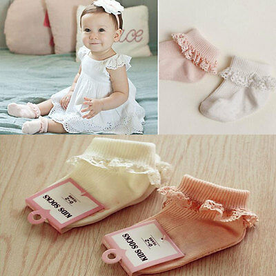 2pairs Pretty Baby Girls White Frilly Newborn Lace Look Cotton Socks