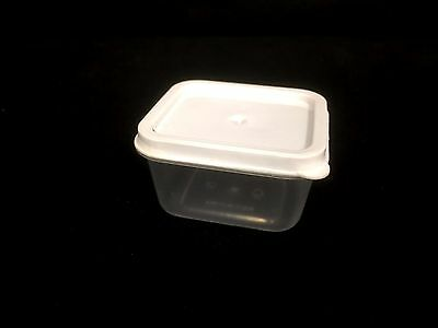 50 Plastic Small Square Storage Container With WHITE Lid 6x5.5x3.5cm 85ml New