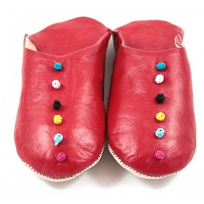Babouche Pompons cuir rouge - Moroccan slippers // pantoufle mules