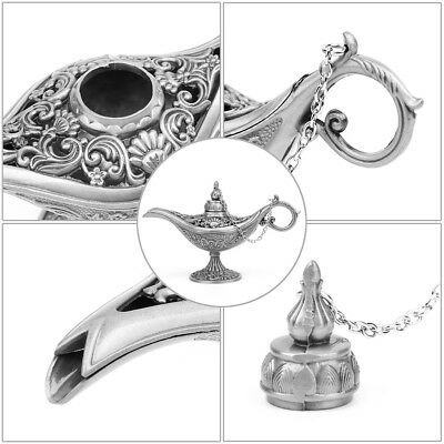 Hollow Carved Zinc Alloy Metal Vintage Aladdin Genie Oil Lamp Pot Arabian Light