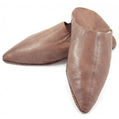 Tapered slippers made of brown leather for Men - moroccan slippers / Pantoufle /