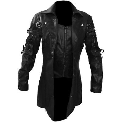 Men REAL Black Brown Red White Leather Goth Matrix Trench Coat Steampunk Gothic