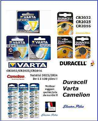 Piles/Battery bouton lithium Camelion, Duracell, Varta CR2032/CR2025/CR2016