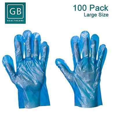 100 x Disposable Blue Polythene PE Gloves Plastic Food Safe Cleaning Glove