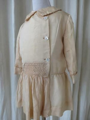 Exquisite 1920's Silk Double Breasted Toddler Jacket- Silk Embroidered Smocking