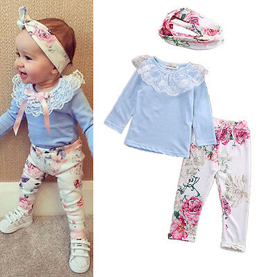 3pcs Newborn Toddler Kids Baby Girls Tops+Pants+Headband Outfits Clothes Set