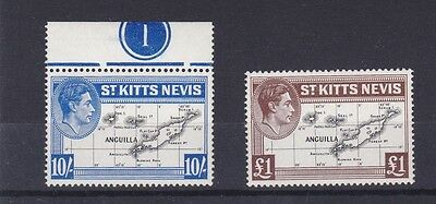 St Kitts Nevis  1938 - 50  S G 77E & 77F  10/- &  £1  Values No 2  M N H