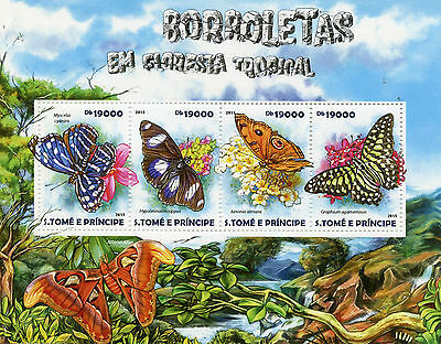 Sao Tome & Principe 2015 MNH Butterflies Tropical Forest 4v M/S Insects Stamps