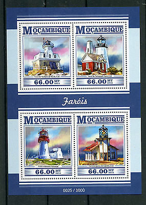 Mozambique 2015 MNH Lighthouses 4v M/S Penfield Reef Light Pemaquid Point Stamps