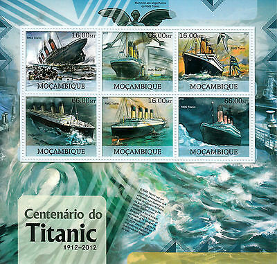 Mozambique 2012 MNH RMS Titanic Centenary Sinking 6v M/S Ships Boats Stamps