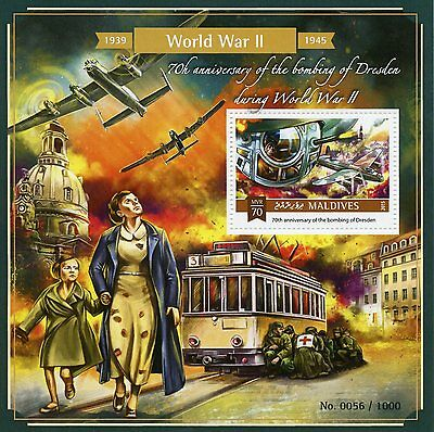 Maldives 2015 MNH WWII Second World War II Dresden Bombing 70th 1v S/S Stamps