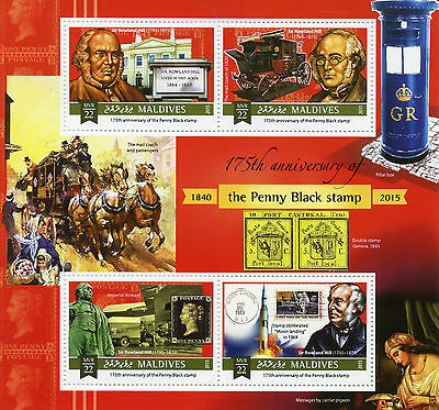 Maldives 2015 MNH Penny Black 175th 4v M/S Sir Rowland Hill Mail Coach Stamps