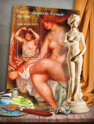Guinea-Bissau 2016 MNH Pierre-Auguste Renoir 1v S/S Woman Nude Paintings Stamps