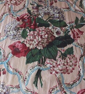Old Vintage Chintz Hand Blocked Fabric c1920~Botanical~Collectors,Home Dec