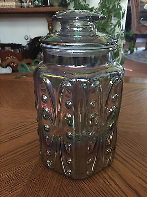 Vtg Iridescent Carnival Glass Atterbury Scroll Embossed Canister Imperial Glass