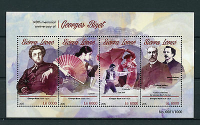 Sierra Leone 2015 MNH Georges Bizet 140th Memorial 4v MS Composers Carmen Stamps