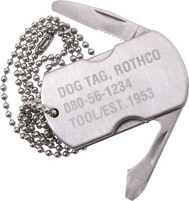 Stainless Steel Dog Tag Multi Tool Bottle Opener Utility Knife Screw Driver File
