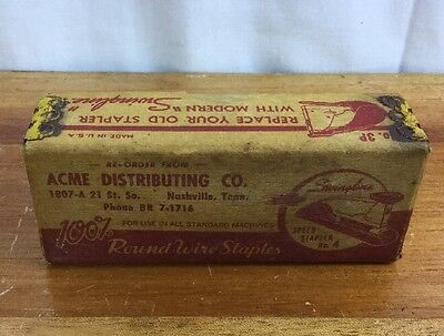 Vintage Round Wire Staples ACME Distributing Co For Standard Machines W/ Box