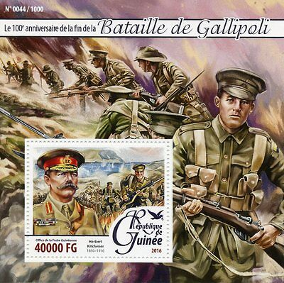 Guinea 2016 MNH Battle of Gallipoli 100th Ann 1v S/S WWI Kitchener Stamps