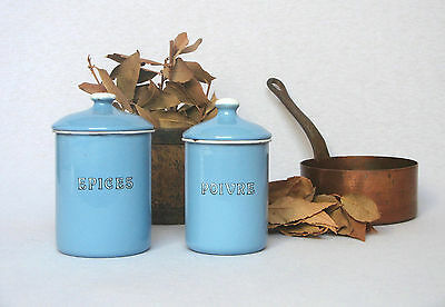 PAIR OF VINTAGE FRENCH ENAMELWARE CANISTERS with pretty summer blue enameling