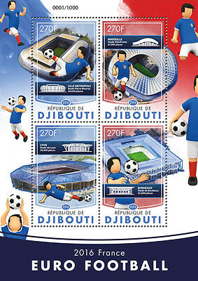Djibouti 2016 MNH Football Championships Euro 2016 France 4v M/S Soccer Stamps