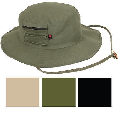 Solid Wide Brim Military Boonie Hunting Fishing Hat with MA-1 Pocket 9d53f0be183