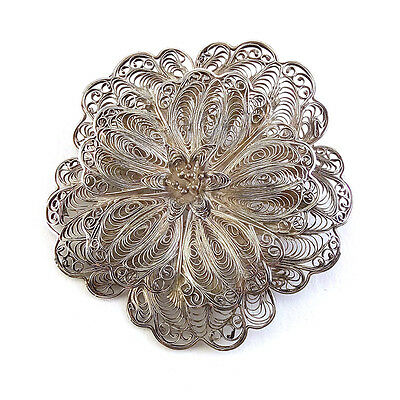 Large Vintage Mexican Sterling Silver Filigree Flower Blossom Pin Brooch, 20th C