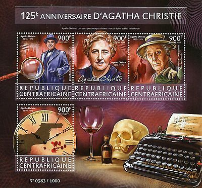 Central African Rep 2015 MNH Agatha Christie 125th 4v M/S Poirot Marple Stamps