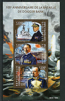 Central African Republic 2015 MNH Battle Dogger Bank 100th Ann 3v M/S WWI Stamps
