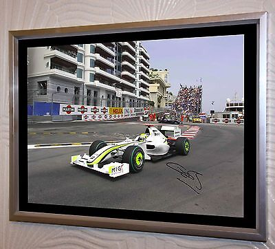 Jenson Button F1 Brawn World Champion  A3 Large Silver Framed Canvas Signed.