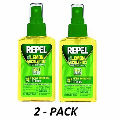 2pk Repel Lemon Eucalyptus Natural Insect Repellent 4-Ounce Pump Spray DEET-FREE