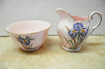 "Vtg Tuscan Cream And Sugar ""blue Iris"" Set Soft Pink Fine Bone China  England"