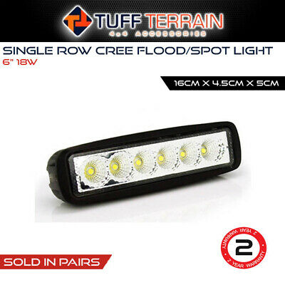 2x 6inch 18W LED Light Bar Driving Work Lamp Flood Truck Offroad UTE 4WD BOAT