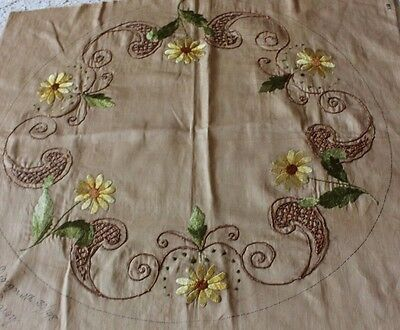 Antique Daisy & Scroll Hand Emb Art  Nouveau Silk Society Work Linen Centerpiece
