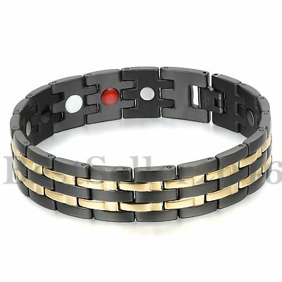 Mens Magnetic Therapy Health Bracelet Power Elements Chain Link Biker Bangle